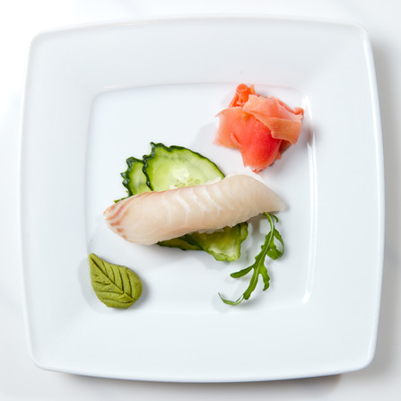 Sushi on plate isolated on white